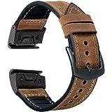 OTOPO Compatible Garmin Fenix 5X / 5X Plus Bands, 26mm Quick fit Hybrid Sport Band Vintage Leather Sweatproof Strap…