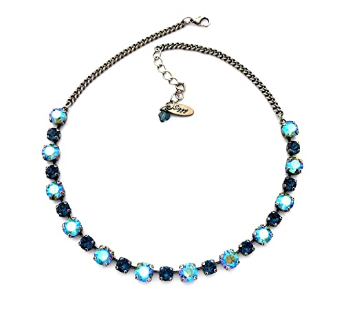 Amazon.com: Swarovski® Crystal Necklace, 8mm Erinite Shimmer, 6mm ...