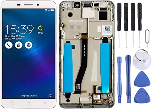 Color : White Black LCD Screen Mobile Phone and Digitizer Full Assembly with Frame for Asus ZenFone 3 ZE552KL