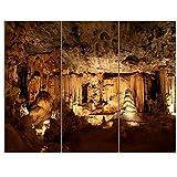 Design Art PT12942-36-28-3P Dark Cango Caves South Africa - Extra Large African Landscape Canvas Art,,36x28 - 3 Panels
