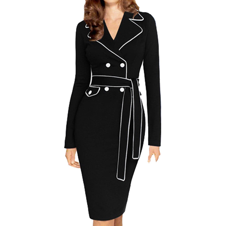 SUNNOW® Elegant Damen Kleid Blazer Herbst Winter Langarm Revers ...