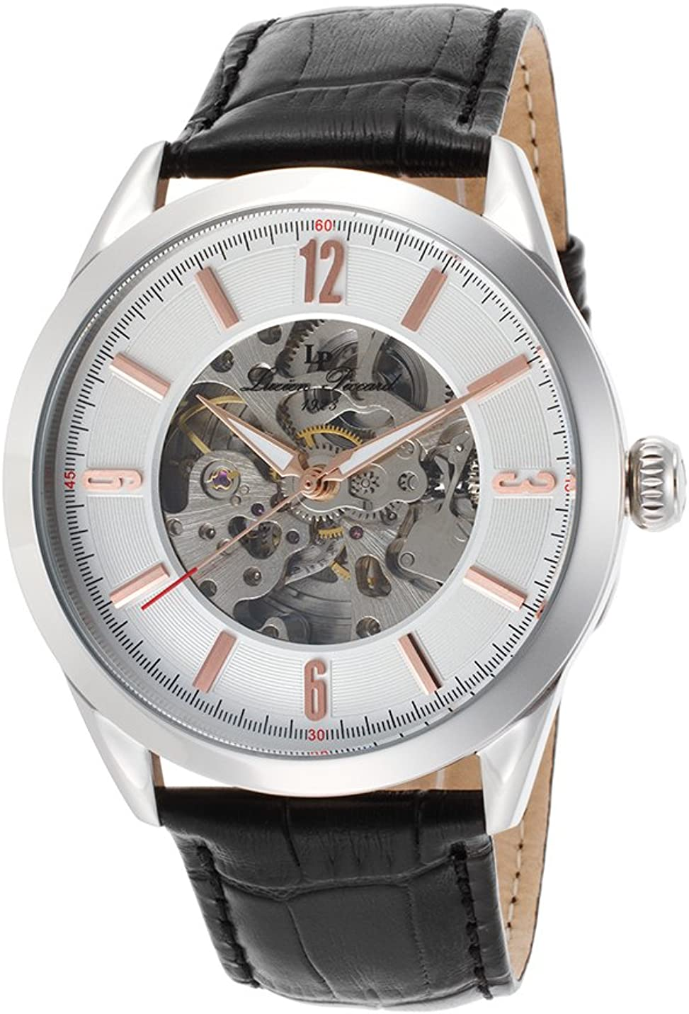 Lucien Piccard Men s LP-10660A-02S-RA Loft Stainless Steel Automatic Watch with Black Leather Band