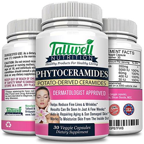 Phytoceramides 350mg anti-vieillissement cutané, rides supplément, Plant dérivée céramides, antioxydants, vitamines A C D E, meilleure produit de soin de peau, naturel & sans Gluten, 30 Capsules Veggie
