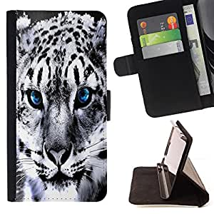 Blue Eye Snow Panther Jaguar - Painting Art Smile Face Style Design PU Leather Flip Stand Case Cover FOR HTC One M9 @ The Smurfs