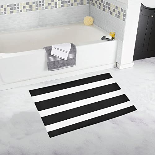 INTERESTPRINT Horizontal Straight Lines Stripes Black White Decor Non Slip Bath Rug Mat Absorbent Bathroom Floor Mat Doormat Large Size 20 x 32 Inches