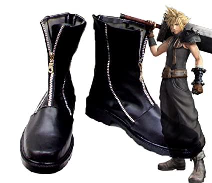 Final Fantasy VII FF7 Cloud Strife Cosplay Shoes Boots Custom Made Iron Zipper