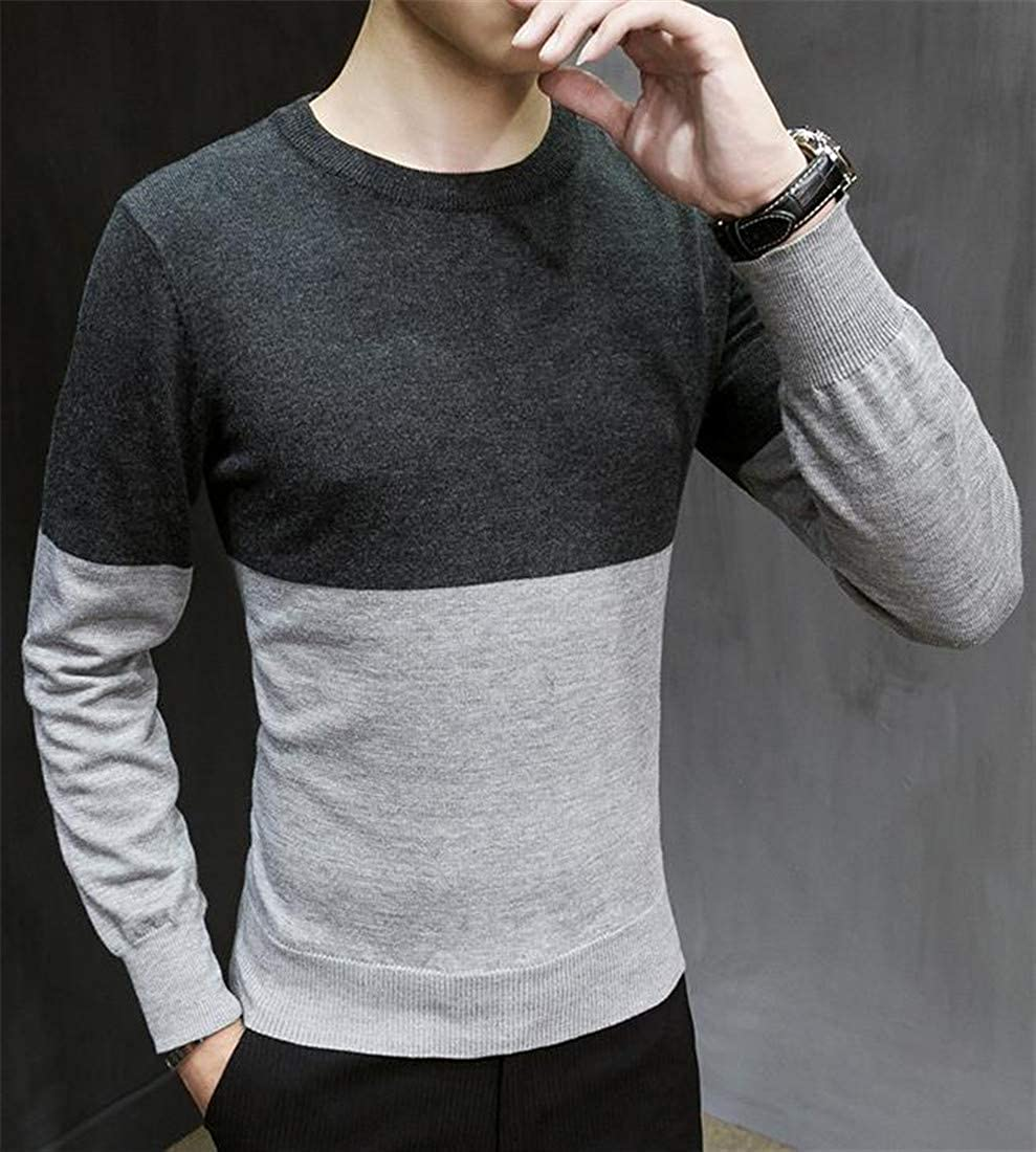Pandapang Mens Casual Contrast Color Crew Neck Pullover Knitwear Slim Fit Sweater
