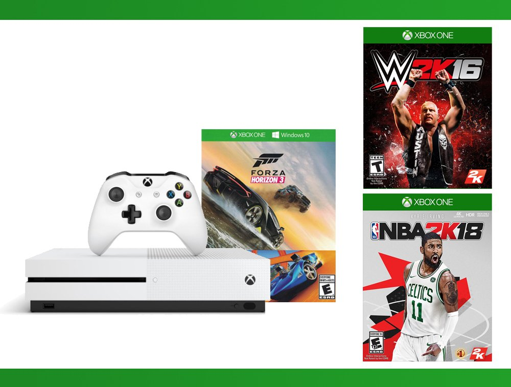 Xbox One S 500GB Console - Forza Horizon 3 Hot Wheels Console Bundle + NBA 2K18 + WWE 2K16 Bundle ( 3 - Items )