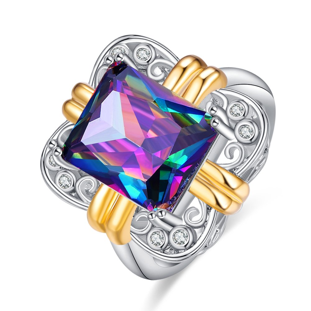 Psiroy 925 Sterling Silver Created Rainbow Topaz Filled Statement Ring for Women