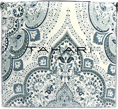 (Tahari Home Blue Linen Texture Reversible Bohemian Duvet Cover Luxury Boho Style Paisley Medallion 3 Piece Cotton Bedding Set (King))