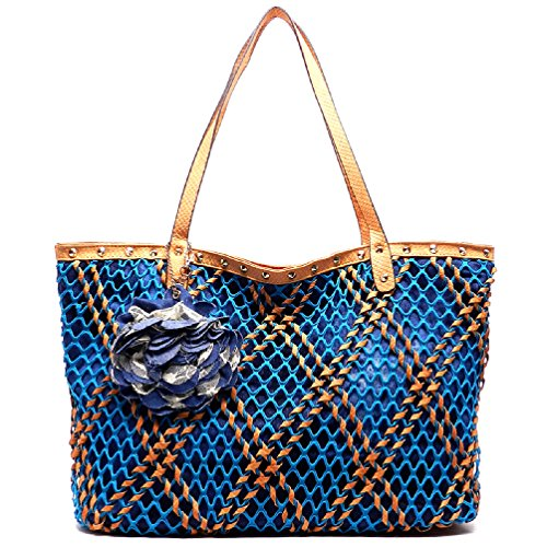 Fashion Glad Denim Mesh Net Python Shopper Tote Purse (ORANGE)