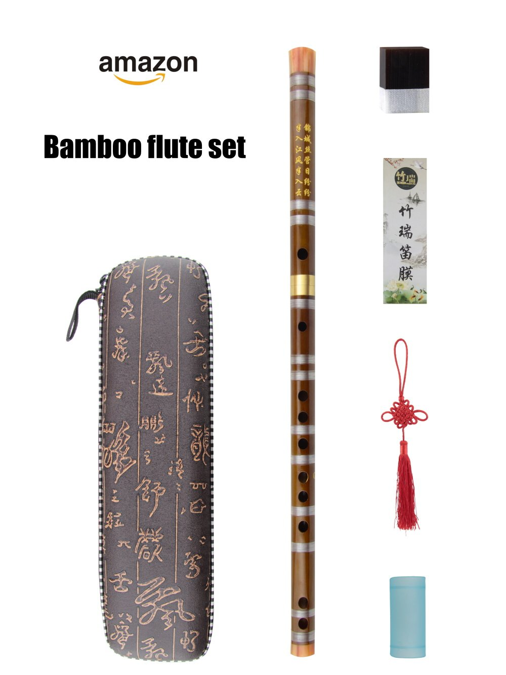 G Key Dizi Bamboo Flute for Beginners with Free Membrane & Glue & Protector Set Traditional Chinese Instrument