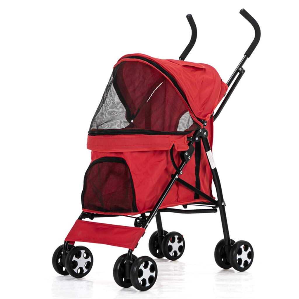 C Pet Stroller Dog Pushchair Light Weight Stainless Frame Travel Carrier Big Wheel for with Safety Breaks (4 colors) (color   C)
