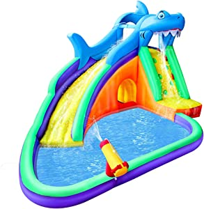 BESTPARTY Inflatable Kids Water Slide, Shark Looking, Pool Water Slide for Toddler, Bouncy Splash Park for Outdoor Fun, with Blower