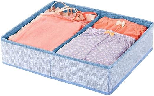 mDesign Soft Fabric Dresser Drawer and Closet Storage Organizer Bin for Child//Kids Room Blue Divided 2 Section Tray Playroom Nursery Herringbone Print
