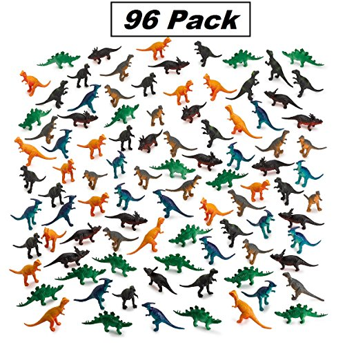 96 Pieces Mini Vinyl Dinosaur Set 2-inch - Animal Action Figures Assortment Toy For Kids, Play, Decoration, Gift, Prize, Party Favor – By Kidsco by Kidsco