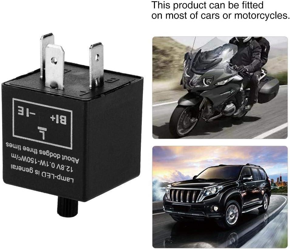 3-poliges Motorrad Blinker Relais 12V 3 Pin Einstellbare LED-Leuchte Blinkrelais Fix Elektronisches Relais F/ür Blinkeranzeige