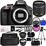 Nikon D3300 Digital SLR Camera - International Version (No Warranty) with Nikon AF-P DX NIKKOR 18-55mm f/3.5-5.6G Lens - Black (24.2MP) + 19PC Bundle 32GB Accessory Kit. Includes: High Definition Wide Angle & Telephoto Lenses + 3 Piece Filter Kit (UV-CPL- FLD) + 4 Piece Macro Filter Set (+1, +2, +4, +10) + More!