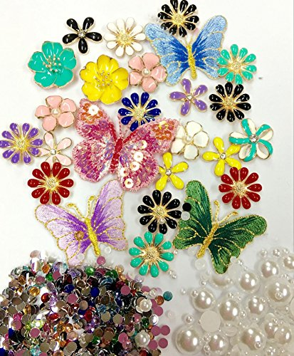 LOVEKITTY TM Z446 New -- DIY 3D Flowers and Butterflies Alloy Bling Bling Glass Gems Flatback Decoden Cabochons Cell Phone Case Deco Kit Hello Kitty Gems