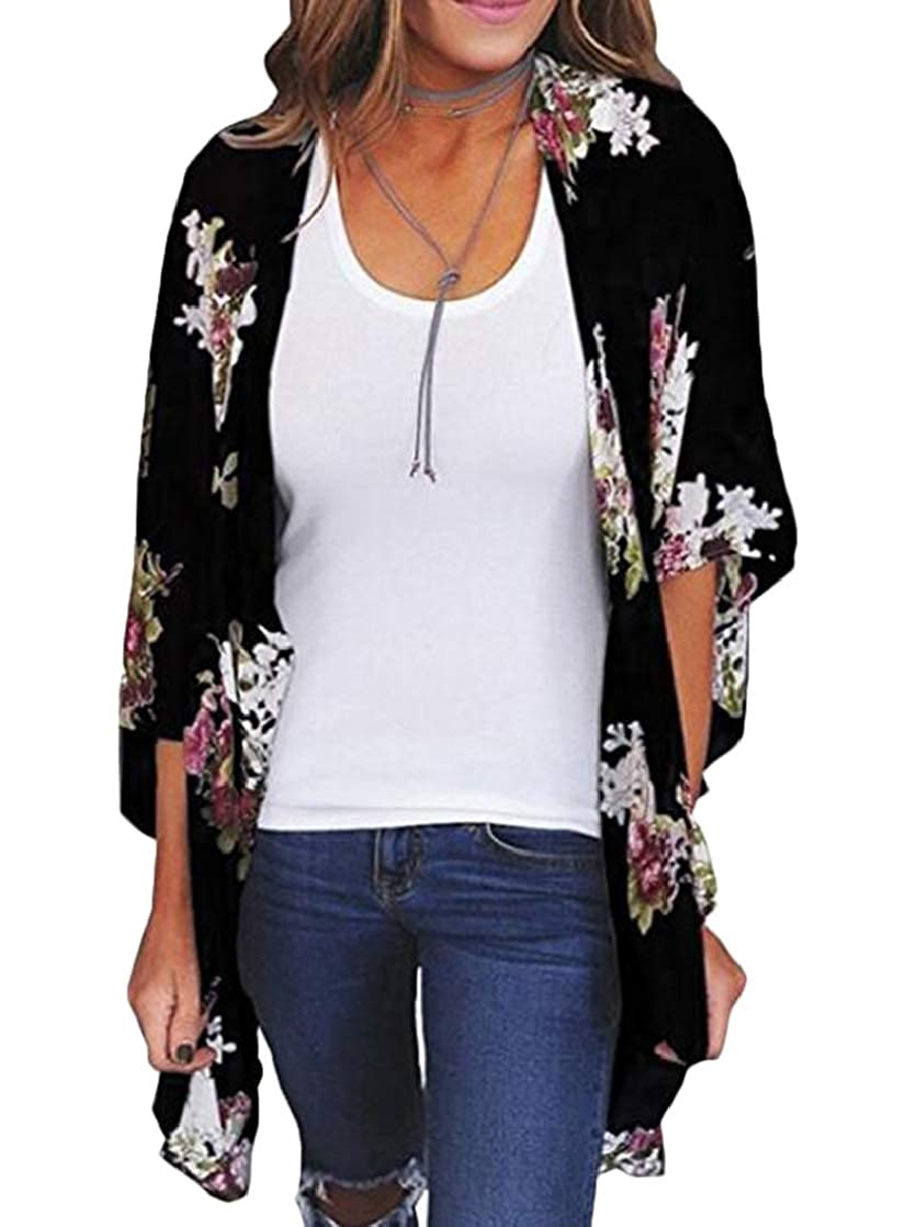 KLJR Women Cover Up Kimono Print Shawl Sunscreen Cardigan Coat