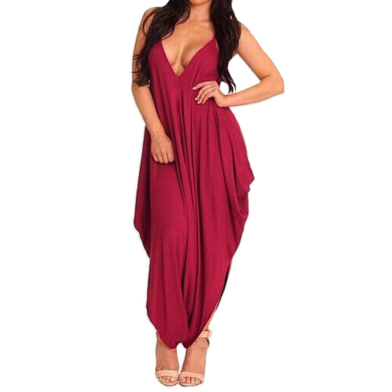 SUNNOW® Elegant Damen Jumpsuit Neckholder tief V-Ausschnitt Harem Pants Frauen Overall Sommer Party Abendmode