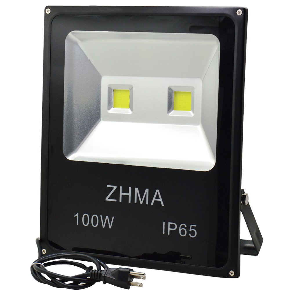 ZHMA 100W LED Flood Lights,Outdoor Waterproof IP65 Super Bright 2-CHIP Floodlight With US 3-Plug,500W Halogen Bulb Equivalent,6000K Daylight White,10150LM,Security Lights for Yard,Garden,Lawn,Pool