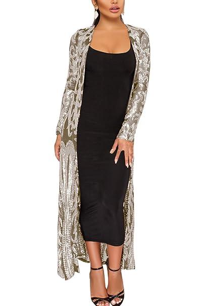 yulinge La Mujer Lentejuelas Sheer Cardigan Chaqueta Outwear ...