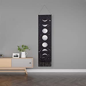 mchatte Moon Phase Tapestry Wall Hanging Black Moon Stars Vertical Tapestry for Men Cotton Phases Wall Art Small Long Tapestry for Bedroom, Living Room Decor (Black,13.8 x 55.1 Inches)