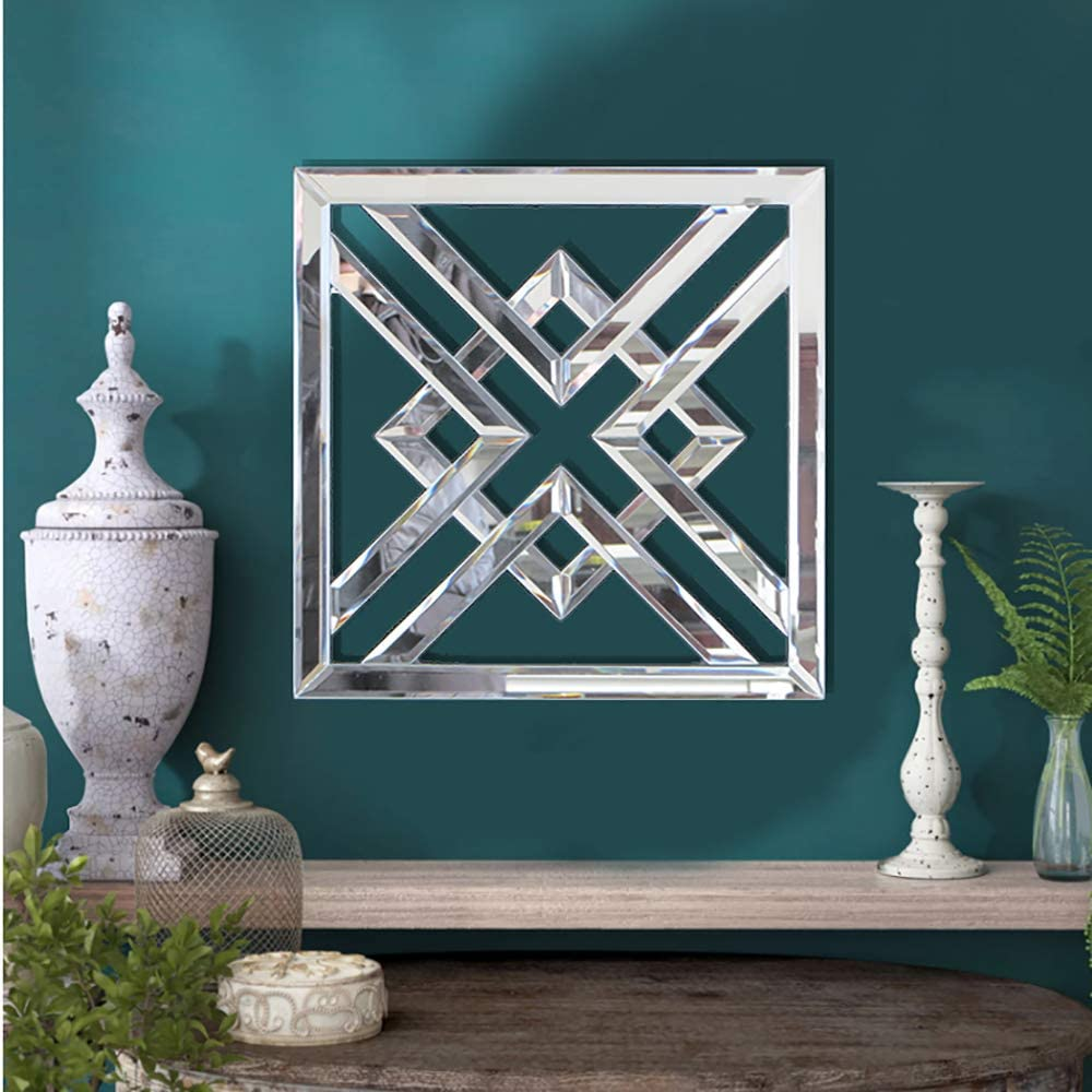 qmdecor Size 12x12 inches Square Mirrored Wall Decorative Mirror with Beveled Edge Modern Fashionable Wall-Mounted Mirrors