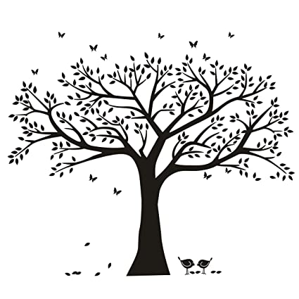 Amazon.com: ANBER Family Tree Wall Decal Butterflies and Birds Wall ...