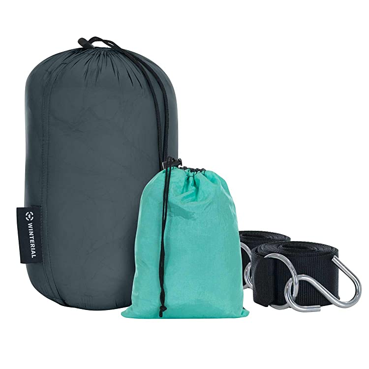 Built with water resistant 20D nylon built to last any adventure. Can easily hold up to 240lbs. Included; carry bag and heavy duty tree straps!
