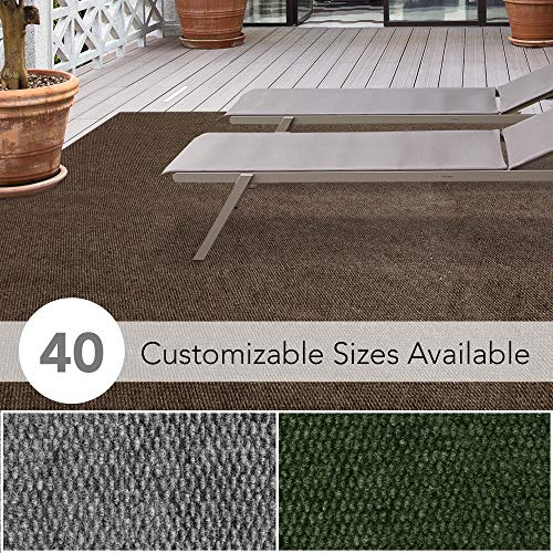 iCustomRug Affordable Indoor/Outdoor All Purpose Utility Loop Pile Carpet with Marine Backing Multi Use Carpet for Patio Porch Deck Boat Basement Garage 6' X 8' in Brown (Decks For Outside Rugs)