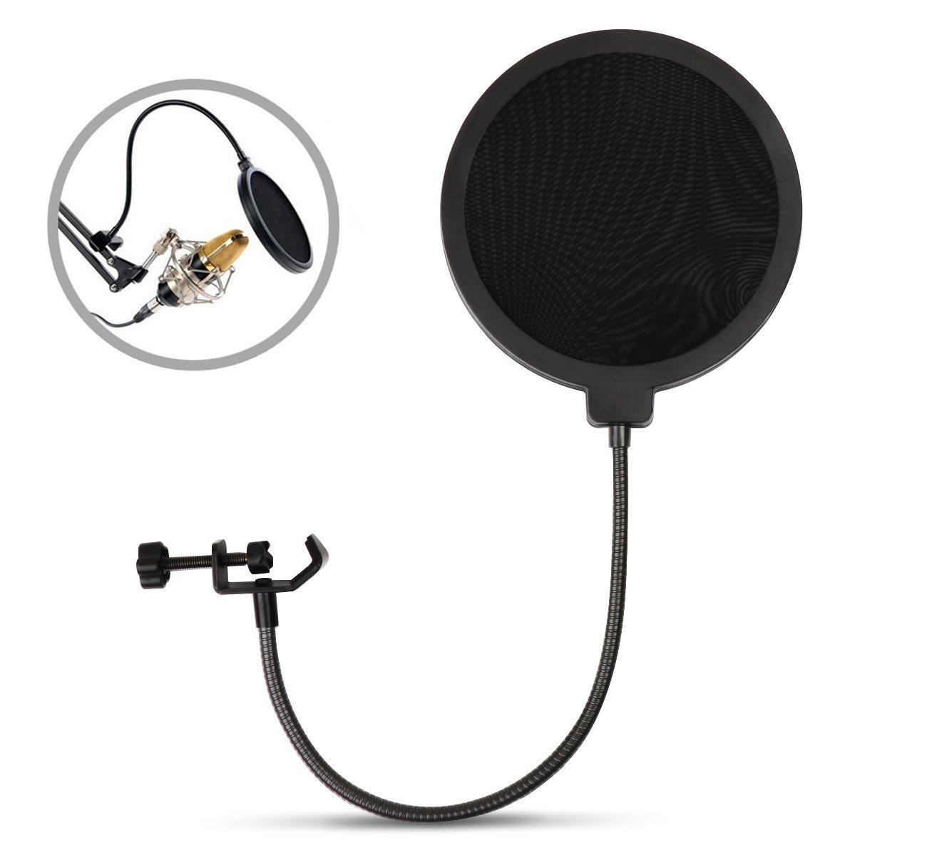 ilauke Microphone Filtre Anti-vent et Anti-pop pour Microphone Avec Support Pivotant 360 ° Rotation Flexible ilauke-Anti-pop