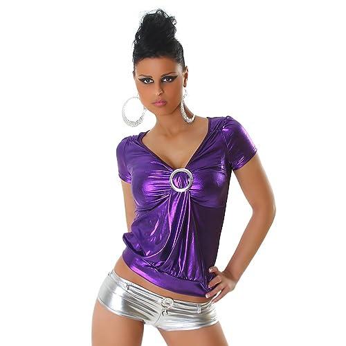 Signore della camicia GoGo T-shirt in pelle Wetlook sguardo riforniscono Un formato 36,38,40,42 - va...