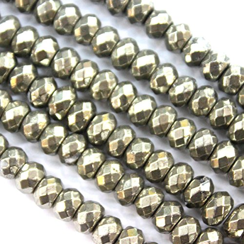 Pyrite Beads - Faceted Natural Pyrite Rondelle Gemstone Beads for Jewerly Making Findings (5*8mm)
