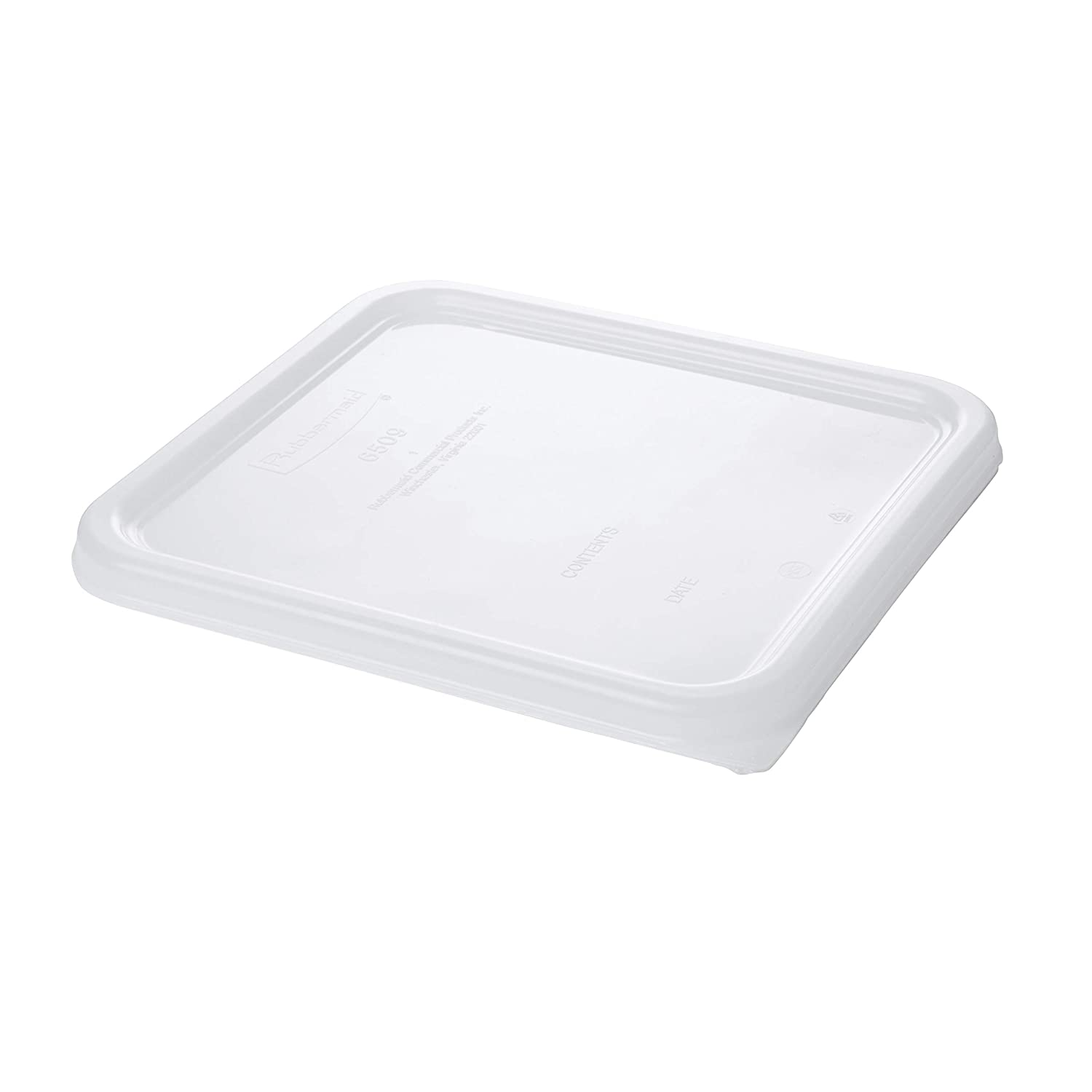 Rubbermaid Commercial Products Small Lid For 2, 4, 6, And 8 Qt. Plastic Space Saving Square Food Storage Container (Fg650900Wht)