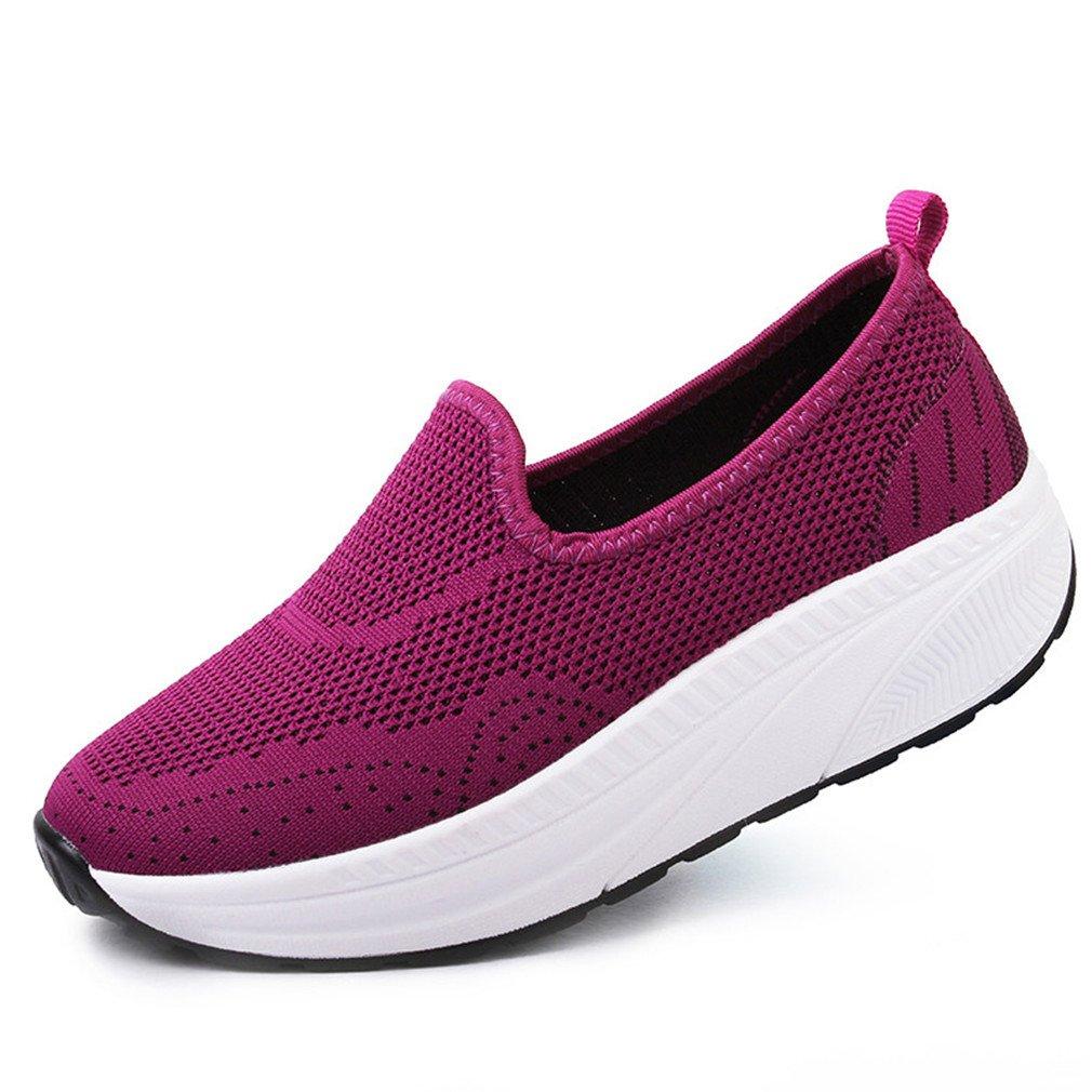 Suvoreal Women Platform Shoes Slip On Women Loafers Durable Flat Shoes Purple 7
