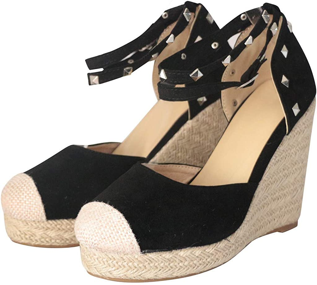 Peize Retro Fashion Womens Wedges Flats Shoes,Ladies Platform Thick Bottom Roman Sandals