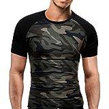 Camiseta para Hombre, ❤️Xinan Camiseta Slim para Hombre Camuflaje Militar O-Cuello de Manga Corta Tees, M-3XL