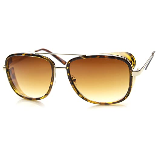 52fa91b55f Classic Side Shield Double Bridged Flat Lens Metal Aviator Sunglasses 55mm  (Tortoise-Gold