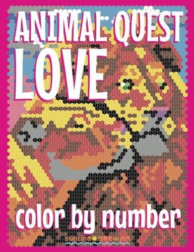 ANIMAL LOVE QUEST Color by Number: Activity Puzzle Coloring Book for Adults Relaxation & Stress Relief (Quest Coloring Books) (Volume 4)