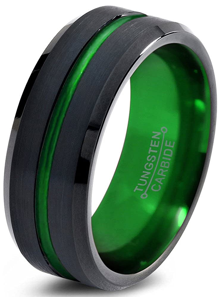 Tungsten Wedding Band Ring 8mm for Men Women Green Black Beveled Edge Brushed Polished