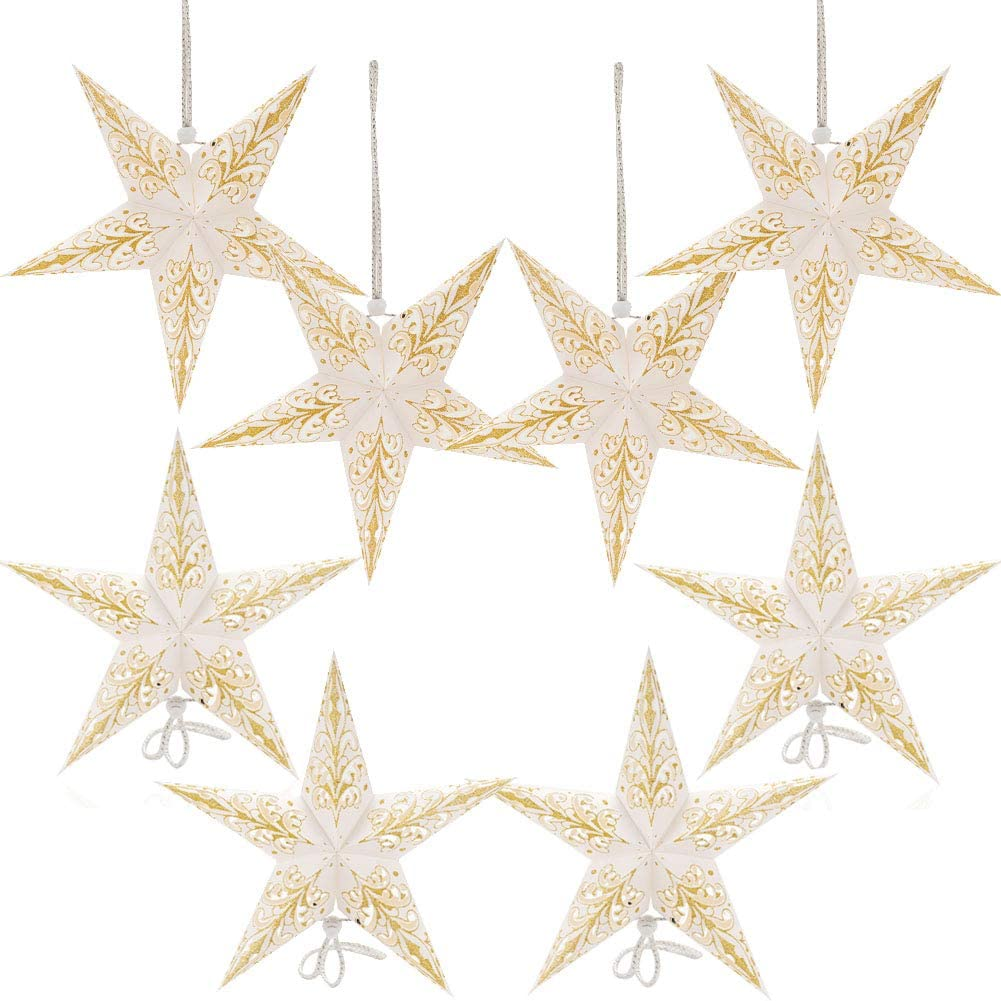 Paper Star Lantern Lampshade Hanging Christmas Xmas Day Decoration for LED Light Wedding Birthday Party Home Decor 8 Pcs 28cm Hollow Out Design (Lights not Included) (White with Gold)