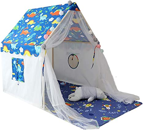 Kibten Patrón de dinosaurio grande Dibujos animados Niño Tienda de campaña Tienda de niños en el interior Casa de juguetes Casa de juegos Niña niño Princesa de castillo Tienda de campaña Jardín