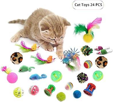 Andiker Juego de 24 Piezas de Juguetes para Gatos, Juguetes ...