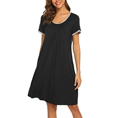 Ekouaer Women's Nightgown Short Sleeve Sleepwear Comfy Sleep Shirt Pleated Scoopneck Nightshirt S-XXL at Women's Clothing store