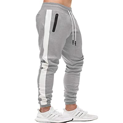 FASKUNOIE Mens Joggers Gym Elastic Close Bottom Workout Athletic Pants with Zipper Pockets