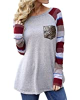 8sanlione Women's Striped Long Sleeve Lightweight Sweatshirts Casual Slim Fitted Tunic Tops