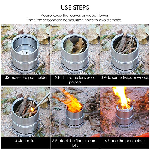 Canway Wood Burning Stove Stainless Steel Camping Stove