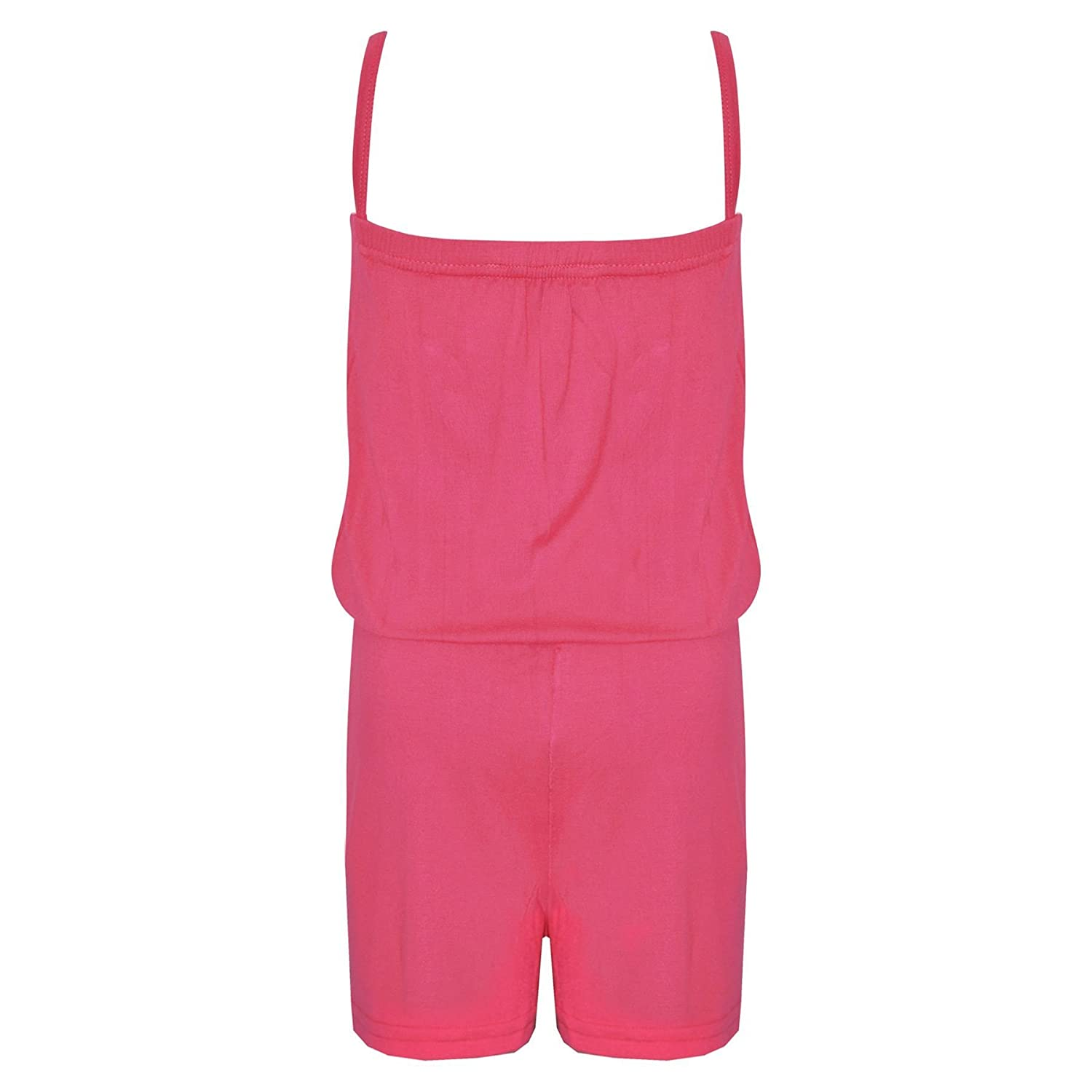 Kids Girls Plain Neon Pink Color Playsuit Trendy All in One New Jumpsuit 5-13 Yr